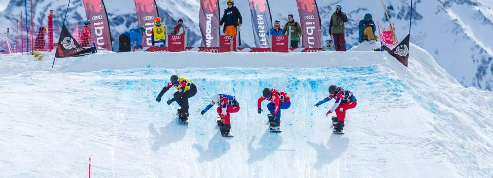 Europäisches Schlussfeuerwerk der Snowboardcrosser